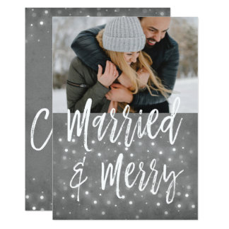 Married and Merry Snow or Snowflake Photo Card