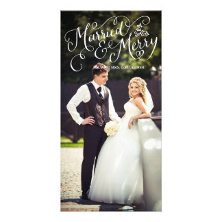 Married and Merry White Hand Lettered Holiday Card