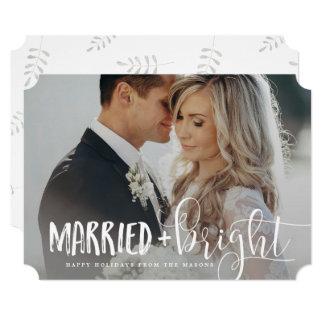 "Married & Bright Holiday Photo 5"" X 7"" Invitation Card"