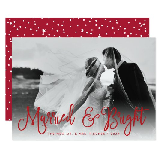 Married & Bright Newlywed Holiday Photo Card