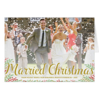 Married Christmas | Folded Newlyweds Holiday Photo Greeting Card