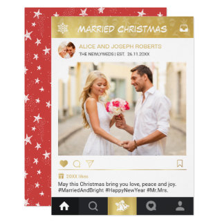 Married Christmas Newlyweds Instagram Frame Photo Card