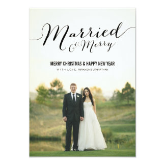 """Married Christmas Photo Flat Cards 5"""" X 7"""" Invitation Card"""