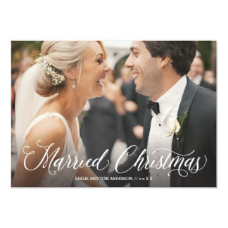 Married Christmas Script Full Photo Holiday Card
