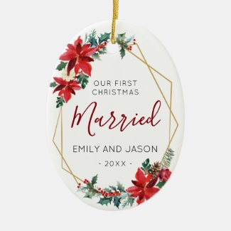 Married First Chrismas Red Poinsettia elegant Ceramic Ornament