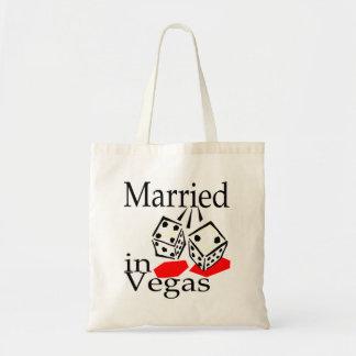 Married in Las Vegas Canvas Bags