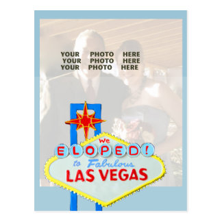 Married in Las Vegas Photo Announcement Blue Postcard