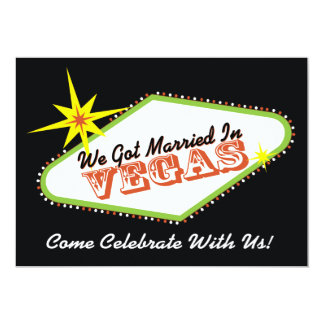 "Married in Las Vegas Wedding Party Invitation 5"" X 7"" Invitation Card"