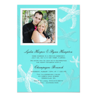 Married in Private Ceremony Announcement Aqua