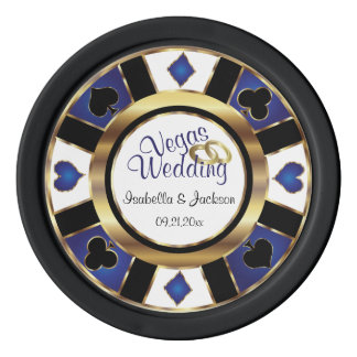 Married Las Vegas Style in Blue Poker Chips Set
