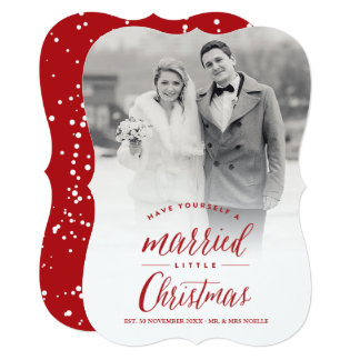 Married Little First Christmas Holiday Photo Card