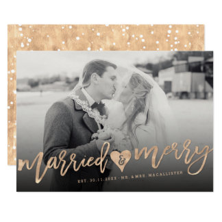Married & Merry Brush First Christmas Photo Card