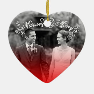 Married & Merry Ceramic Ornament