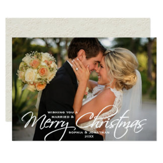 Married & Merry Christmas Hand Lettered Photo Card