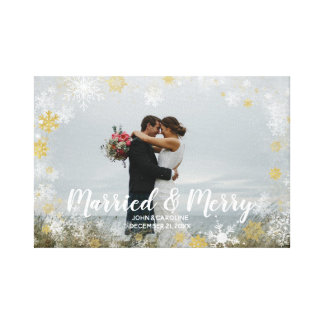 married & merry christmas holiday photo canvas