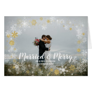 married & merry christmas holiday photo card