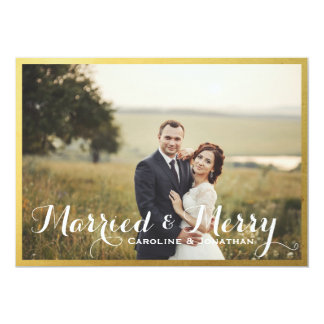 Married & Merry Christmas Holiday Photo Gold Frame Card