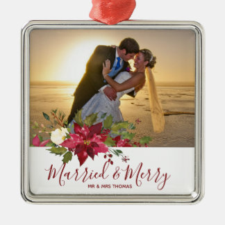 married & merry christmas holiday photo ornament