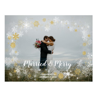 married & merry christmas holiday photo postcard