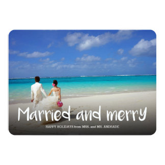 Married Merry Christmas Newlywed Holiday Photo 5 Card