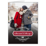 Married & Merry. Christmas Photo Template Cards