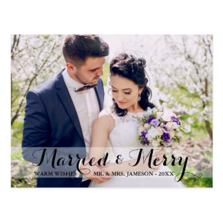 Married & Merry Couple Photo Postcard WT