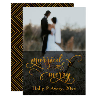 Married & Merry Faux Gold Foil Typography w/ Photo Card