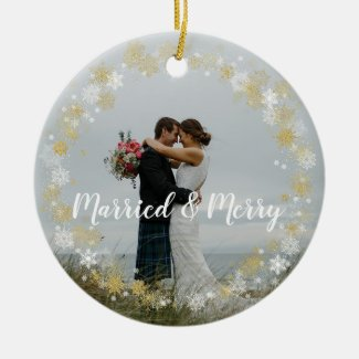 Married & Merry first christmas tree ornament