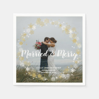 married & merry holiday photo wedding napkin disposable napkin