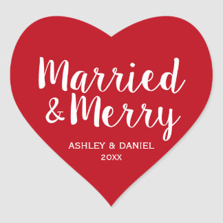 Married & Merry Newlywed Holiday Red Heart Heart Sticker
