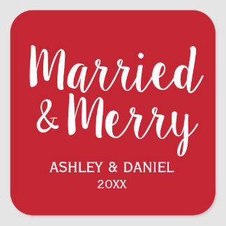 Married & Merry Newlywed Holiday Red Square Square Sticker