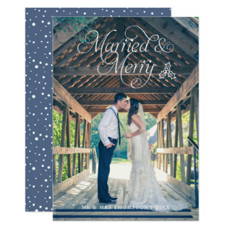 Married & Merry Newlywed Photo Holiday Card Blue