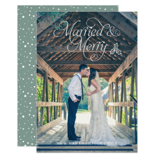 Married & Merry Newlywed Photo Holiday Card Green