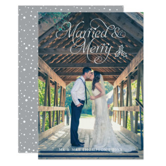 Married & Merry Newlywed Photo Holiday Card | Grey