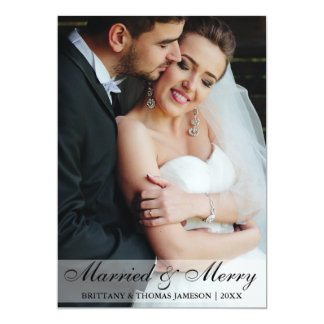 Married & Merry Newlywed Wedding Photo Card