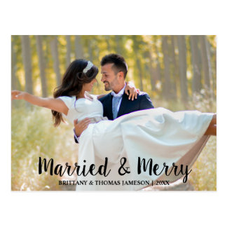 Married & Merry Newlywed Wedding Photo Postcard