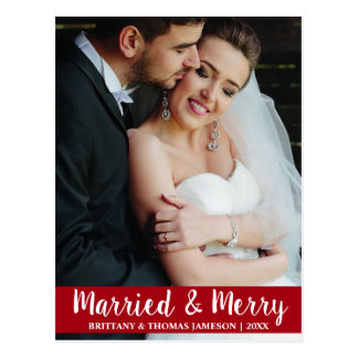 Married & Merry Newlywed Wedding Photo Postcard R