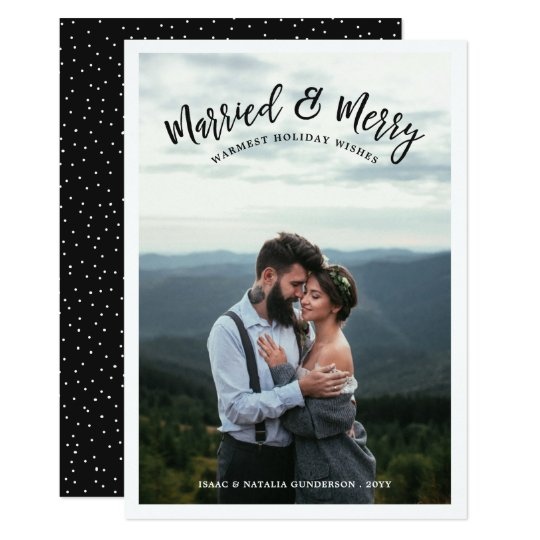 Married & Merry Photo Holiday Card | Dark