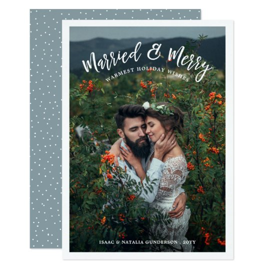 Married & Merry Photo Holiday Card | Light