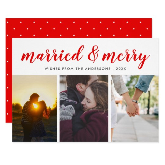 Married & Merry Red Casual Script Three Photo Card
