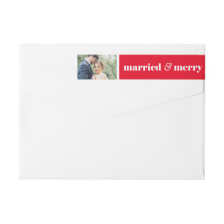Married & Merry Return Adress Labels | Christmas