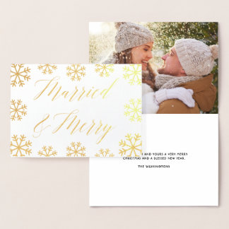Married & Merry | Snowflakes Holiday Photo Foil Card