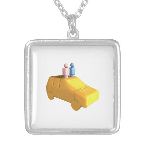 Married Peg People in a Car Personalized Necklace