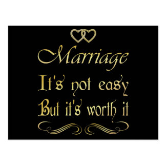 Marriege it's not easy but it's worth it postcard