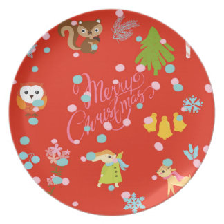 Marry Christmas pattern network Plate