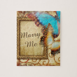 Marry Me Blue Butterfly Puzzle