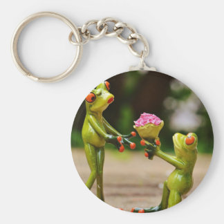 Marry Me cute funny frogs Basic Round Button Keychain