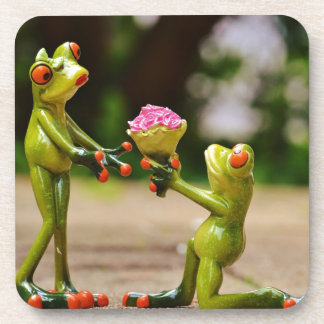 Marry Me cute funny frogs Beverage Coasters