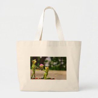 Marry Me cute funny frogs Large Tote Bag