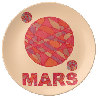 Mars Art The Red Planet Geek Fun Decorative Plate Porcelain Plates